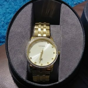 Citizen Accessories - Citizen Men's Goldtone Swarovski Crystal Watch
